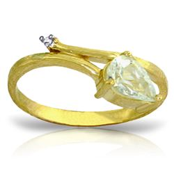 Genuine 0.83 ctw Aquamarine & Diamond Ring Jewelry 14KT Yellow Gold - REF-41A6K