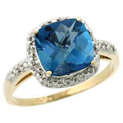 Natural 3.92 ctw London-blue-topaz & Diamond Engagement Ring 14K Yellow Gold - REF-35Y9X