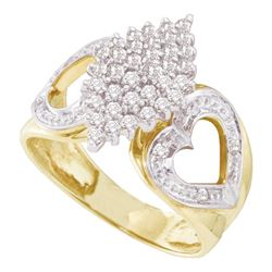 0.50 CTW Diamond Cluster Heart Ring 10KT Yellow Gold - REF-26W9K