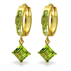 Genuine 4 ctw Peridot Earrings Jewelry 14KT Yellow Gold - REF-53R2P