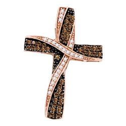 0.57 CTW Cognac-brown Color Diamond Cross Pendant 10KT Rose Gold - REF-32K9W