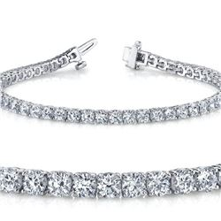 Natural 5.02ct VS-SI Diamond Tennis Bracelet 18K White Gold - REF-452H5Y