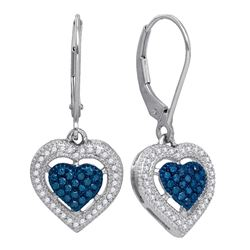 0.40 CTW Blue Color Diamond Heart Dangle Earrings 10KT White Gold - REF-36N2F