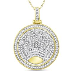 0.88 CTW Mens Diamond King Crown Charm Pendant 10KT Yellow Gold - REF-71K9W