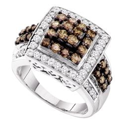 1.5 CTW Cognac-brown Color Diamond Square Cluster Ring 10KT White Gold - REF-82H4M