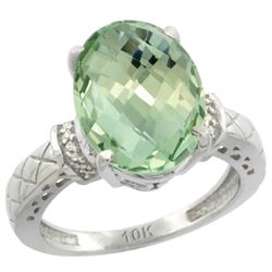 Natural 5.53 ctw Green-amethyst & Diamond Engagement Ring 14K White Gold - REF-60M3H