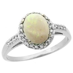 Natural 0.83 ctw Opal & Diamond Engagement Ring 10K White Gold - REF-25H5W