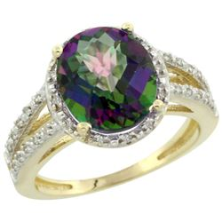 Natural 3.47 ctw Mystic-topaz & Diamond Engagement Ring 14K Yellow Gold - REF-46W3K