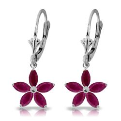 Genuine 2.8 ctw Ruby Earrings Jewelry 14KT White Gold - REF-56X3M