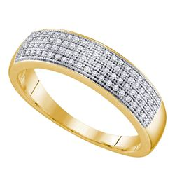 0.25 CTW Mens Pave-set Diamond Wedding Ring 10KT Yellow Gold - REF-25H4M