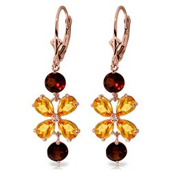 Genuine 5.32 ctw Citrine & Garnet Earrings Jewelry 14KT Rose Gold - REF-50A3K