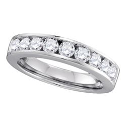1 CTW Diamond Single Row Wedding Ring 14KT White Gold - REF-119F9N