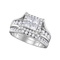 1.5 CTW Princess Diamond Square Halo Bridal Engagement Ring 14KT White Gold - REF-172X4Y