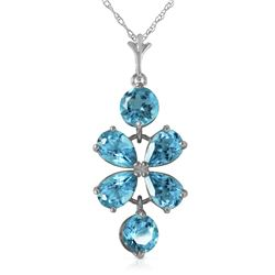Genuine 3.15 ctw Blue Topaz Necklace Jewelry 14KT White Gold - REF-30Z3N