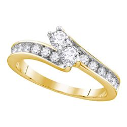0.51 CTW Diamond 2-stone Hearts Together Bridal Ring 14KT Yellow Gold - REF-56F2N