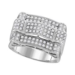 1 CTW Mens Diamond Symmetrical Arched Cluster Ring 10KT White Gold - REF-67H4M
