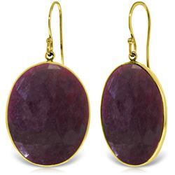 Genuine 39 ctw Ruby Earrings Jewelry 14KT Yellow Gold - REF-102V2W