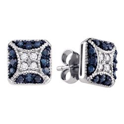 0.50 CTW Blue Color Diamond Square Cluster Earrings 10KT White Gold - REF-32Y9X