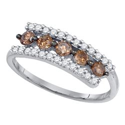 0.62 CTW Cognac-brown Color Diamond Triple Row Ring 10KT White Gold - REF-22Y4X