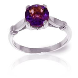 Genuine 1.15 ctw Amethyst Ring Jewelry 14KT White Gold - REF-51R4P