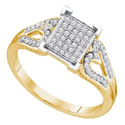 0.20 CTW Diamond Square Cluster Heart Ring 10KT Yellow Gold - REF-26F9N