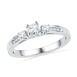 0.50 CTW Diamond 3-stone Bridal Engagement Ring 10KT White Gold - REF-57Y2X