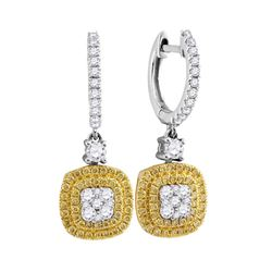 0.88 CTW Yellow Diamond Square Cluster Dangle Earrings 18KT White Gold - REF-142F4N