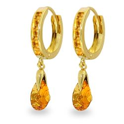 Genuine 3.3 ctw Citrine Earrings Jewelry 14KT Yellow Gold - REF-50P5H