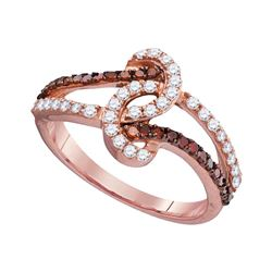 0.50 CTW Red Color Diamond Ring 10KT Rose Gold - REF-26F9N