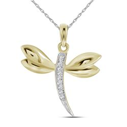 0.03 CTW Diamond Dragonfly Winged Bug Insect Charm Pendant 10KT Yellow Gold - REF-7F4N