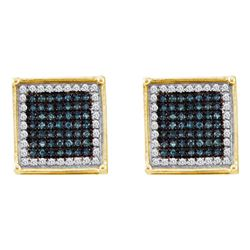 0.33 CTW Mens Blue Color Diamond Square Cluster Earrings 10KT Yellow Gold - REF-18X2Y
