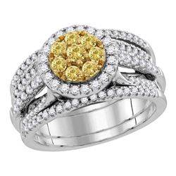 2.96 CTW Yellow Diamond Bridal Engagement Ring 14KT White Gold - REF-344W9K