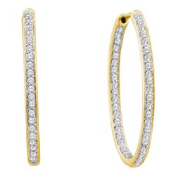 0.50 CTW Diamond In/Out Endless Hoop Earrings 14KT Yellow Gold - REF-67H4M
