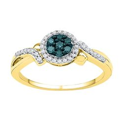 0.26 CTW Blue Color Diamond Cluster Ring 10KT Yellow Gold - REF-22W4K