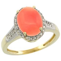 Natural 2.49 ctw Coral & Diamond Engagement Ring 10K Yellow Gold - REF-30A3V