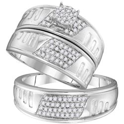 0.40 CTW His & Hers Diamond Cluster Matching Bridal Ring 10KT White Gold - REF-49N5F
