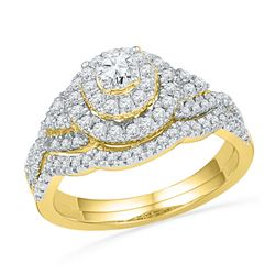 0.75 CTW Diamond Double Halo Bridal Engagement Ring 10KT Yellow Gold - REF-79N4F