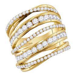2.49 CTW Diamond Fashion Open Strand Cocktail Ring 14KT Yellow Gold - REF-217Y4X