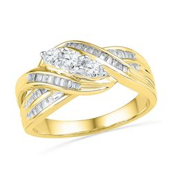 0.50 CTW Diamond 3-Stone Crossover Ring 10KT Yellow Gold - REF-49F5N