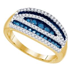 0.70 CTW Blue Color Diamond Cocktail Ring 10KT Yellow Gold - REF-44M9H