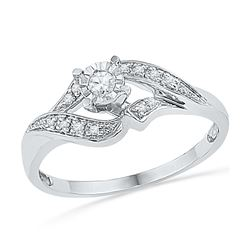 0.16 CTW Diamond Solitaire Bridal Engagement Ring 10KT White Gold - REF-19M4H