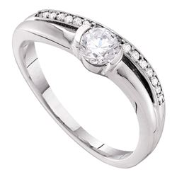 0.40 CTW Diamond Solitaire Bridal Engagement Ring 14KT White Gold - REF-82K5W