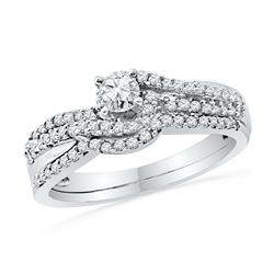 0.49 CTW Diamond Crossover Bridal Wedding Engagement Ring 10KT White Gold - REF-47K9W