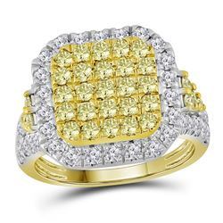 2.34 CTW Natural Canary Yellow Diamond Square Cluster Ring 14KT Yellow Gold - REF-179M9H