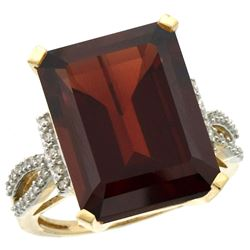 Natural 12.14 ctw Garnet & Diamond Engagement Ring 10K Yellow Gold - REF-67Z7Y