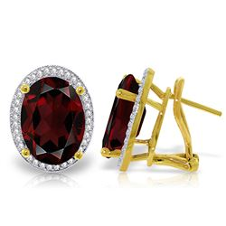 Genuine 12.46 ctw Garnet & Diamond Earrings Jewelry 14KT Yellow Gold - REF-130W2Y