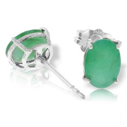 Genuine 1.80 ctw Emerald Earrings Jewelry 14KT White Gold - REF-24M5T