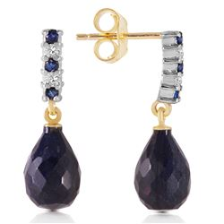 Genuine 6.9 ctw Sapphire & Diamond Earrings Jewelry 14KT Yellow Gold - REF-35N2R