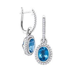 3.13 CTW Natural Blue Topaz Diamond Oval Dangle Earrings 14KT White Gold - REF-104N9F