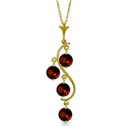 Genuine 2.25 ctw Garnet Necklace Jewelry 14KT Yellow Gold - REF-30F2Z